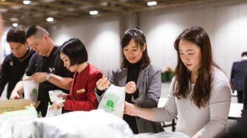Building hygiene kits with Clean the World Asia